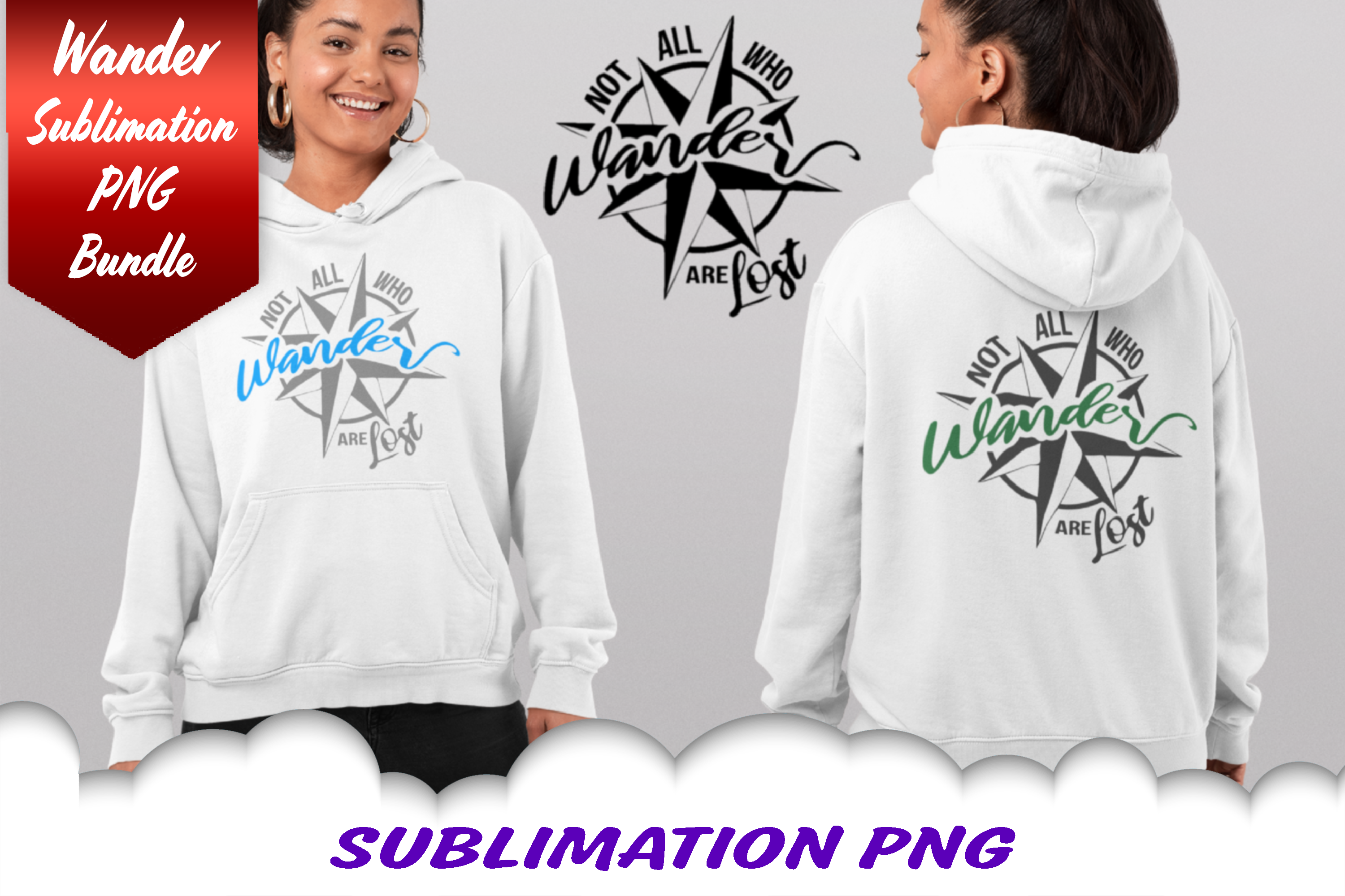 Not All Who Wander Are Lost Compass Sublimation PNG Bundle example image 2