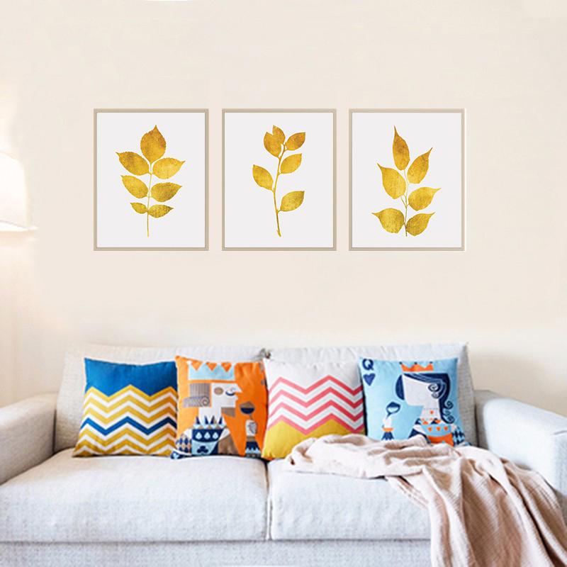 Gold Leaf Prints, Gold Print Set, Gold Botanical Prints example image 4