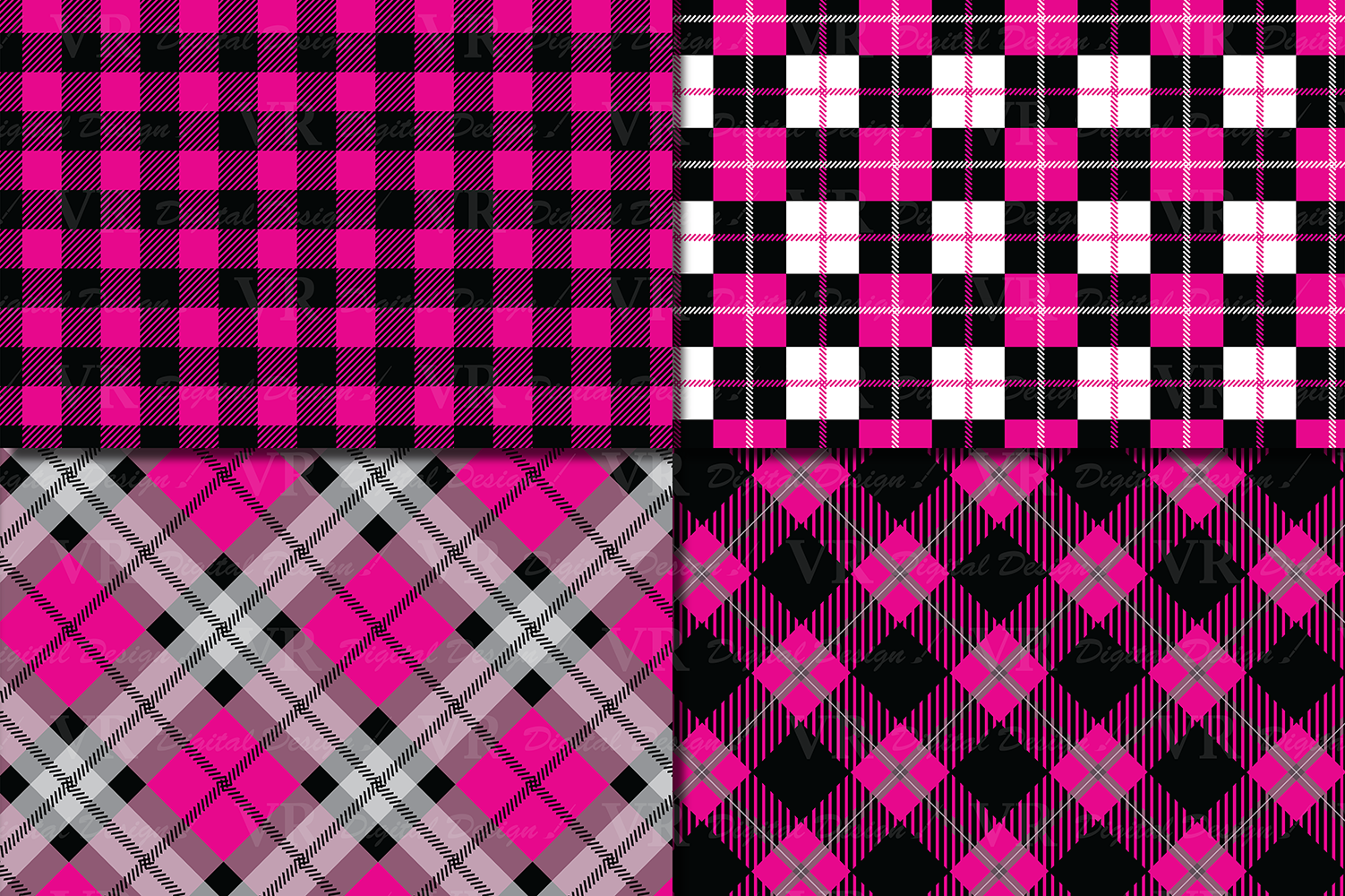 Pink and Black Plaid Digital Papers / backgrounds example image 2