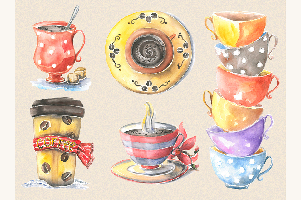 Cup clipart, cofee cup, watercolor cup, cup of tea example image 3