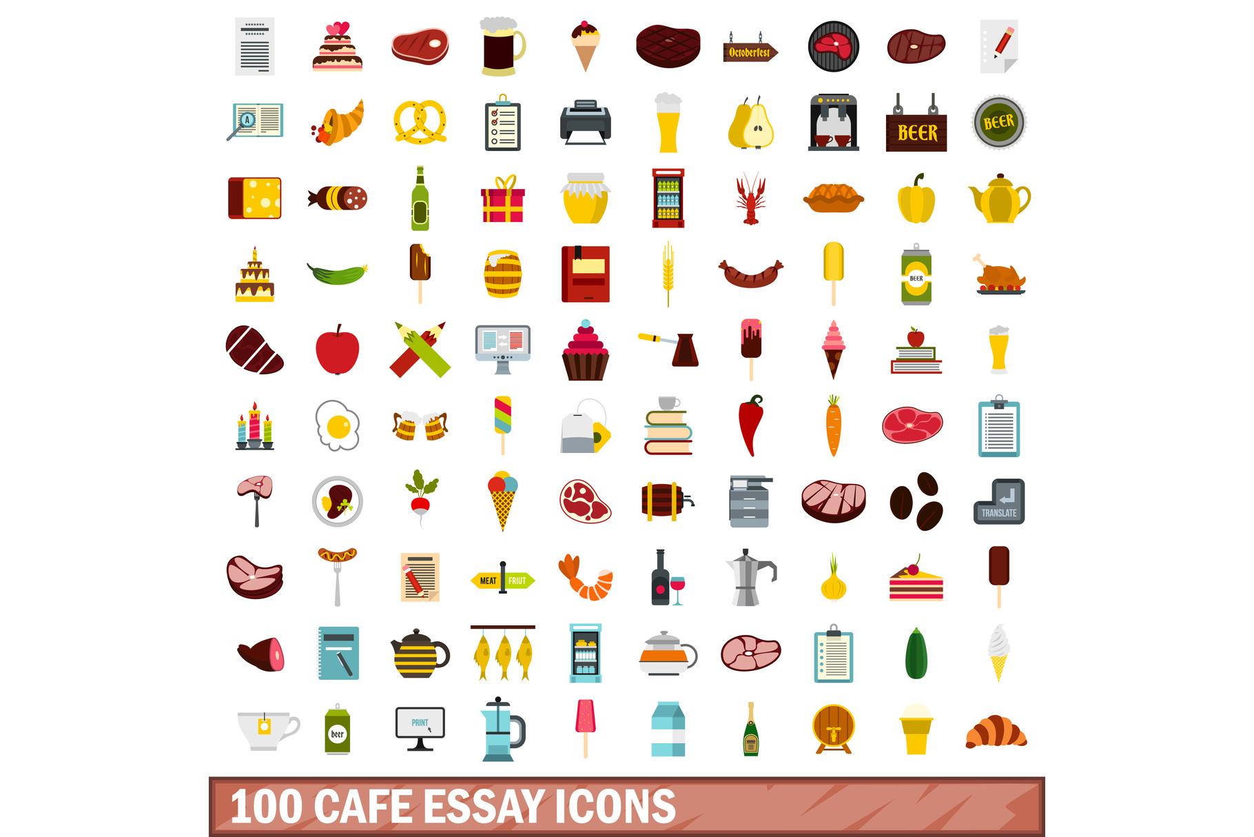 100 cafe essay icons set, flat style example image 1
