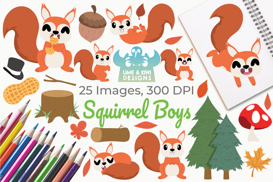 Squirrel Boys Clipart, Instant Download Vector Art example image 1
