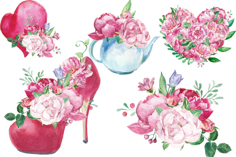 Watercolor Romantic Bouquet clip art example image 2