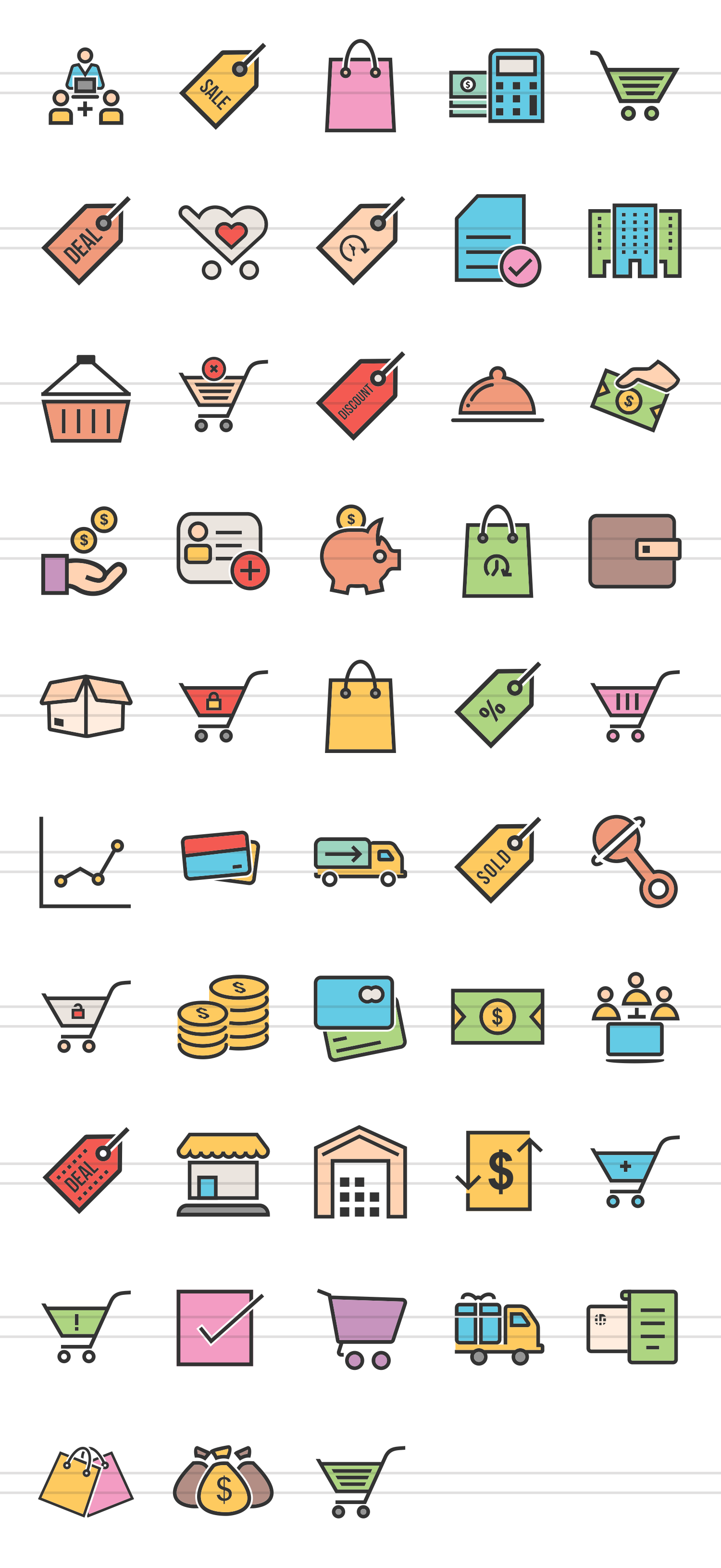 48 Ecommerce Linear Multicolor Icons example image 2