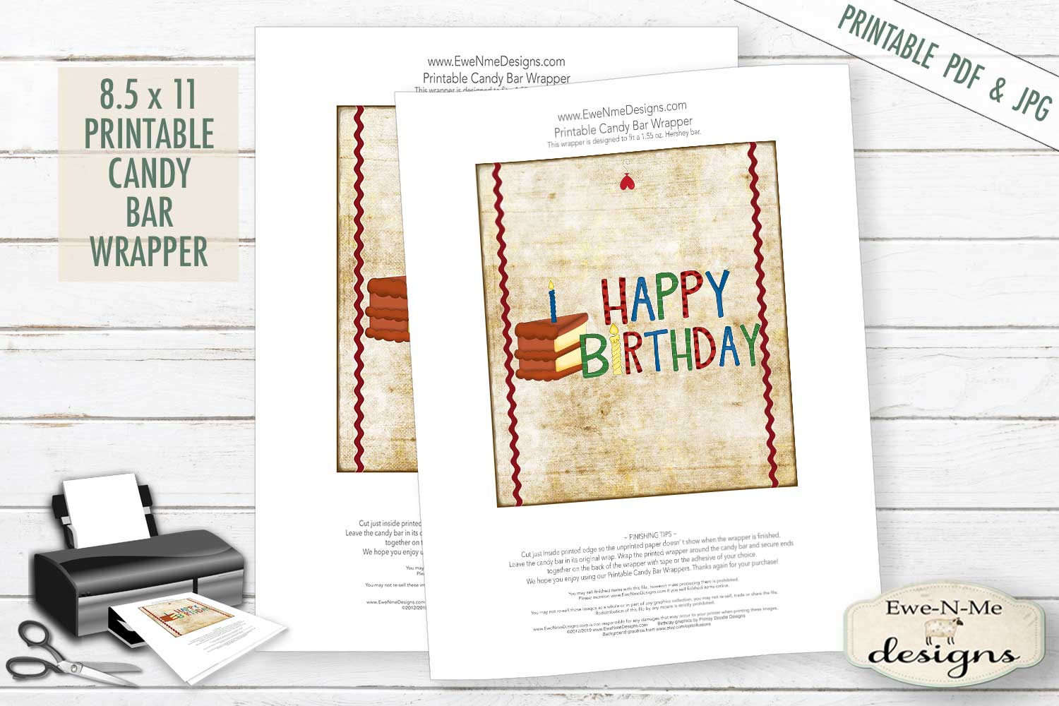 Happy Birthday Candy Bar Wrapper- Hershey Wrapper - PDF JPG example image 2