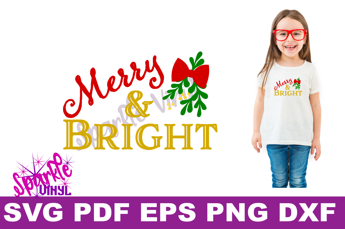 SVG Christmas Merry and Bright Sign Stencil Shirt Tshirt outfit svg file for circut and silhouette dxf eps png pdf  Christmas printable example image 2