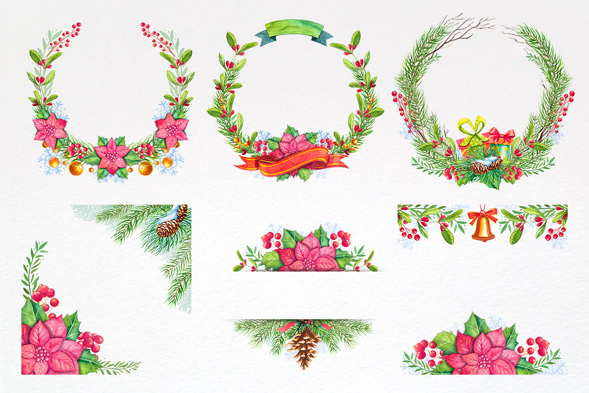 Christmas. Watercolor illustrations. example image 7