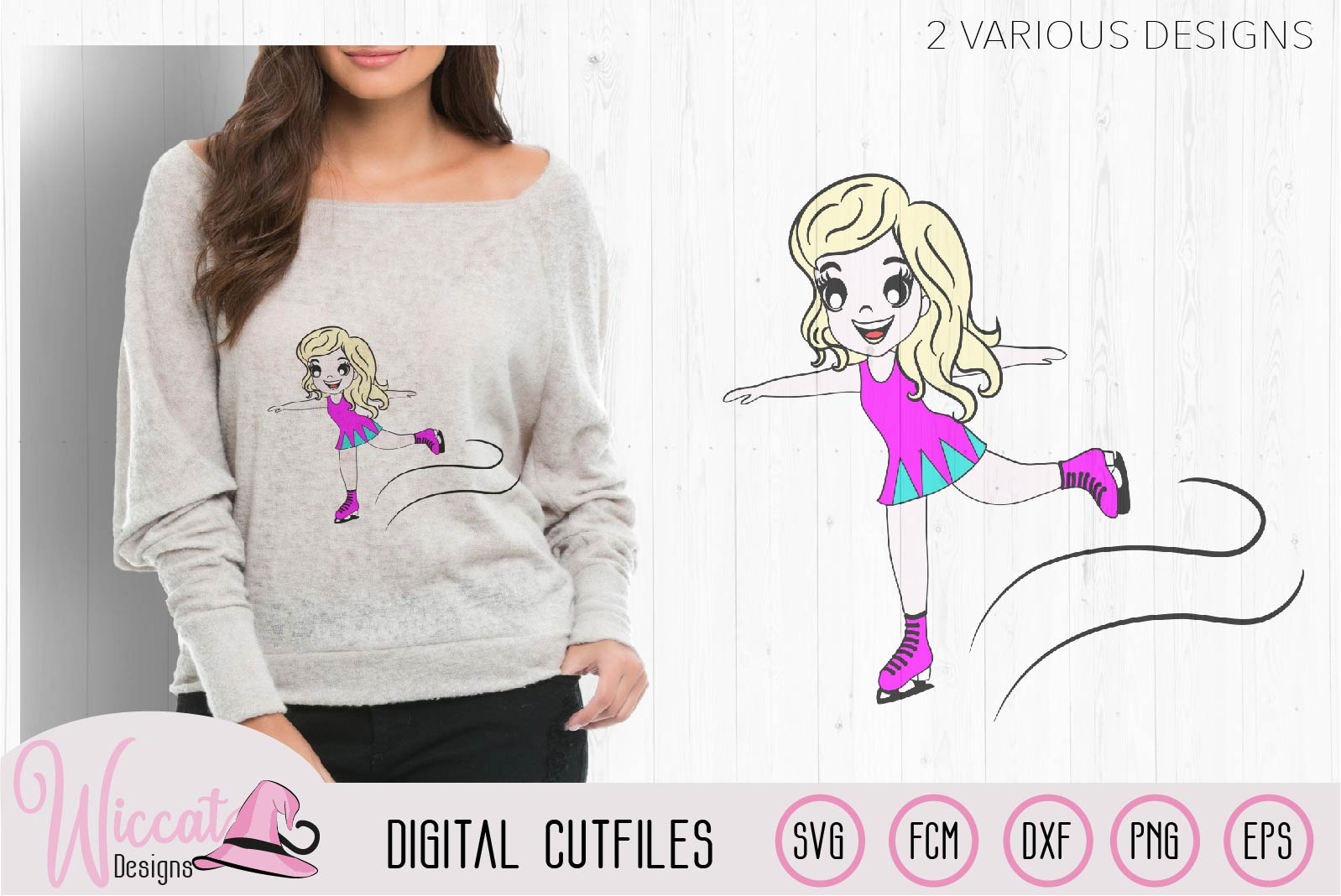 Ice skating Girl, Figure skate cut file, ice skates example image 2
