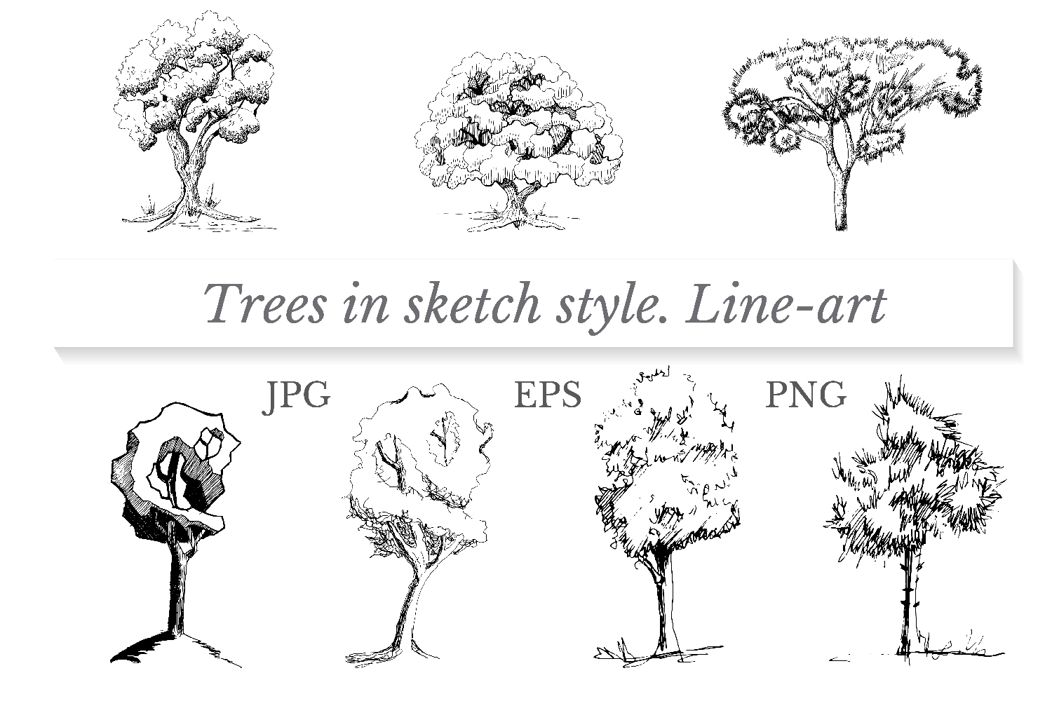 Set of trees in sketch style. Line-art. example image 1