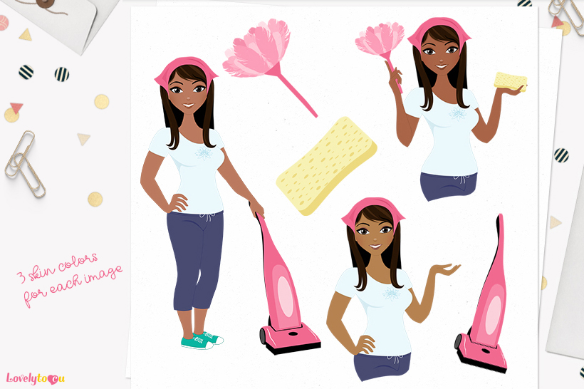 Woman cleaner character clip art L188 Zoe example image 1