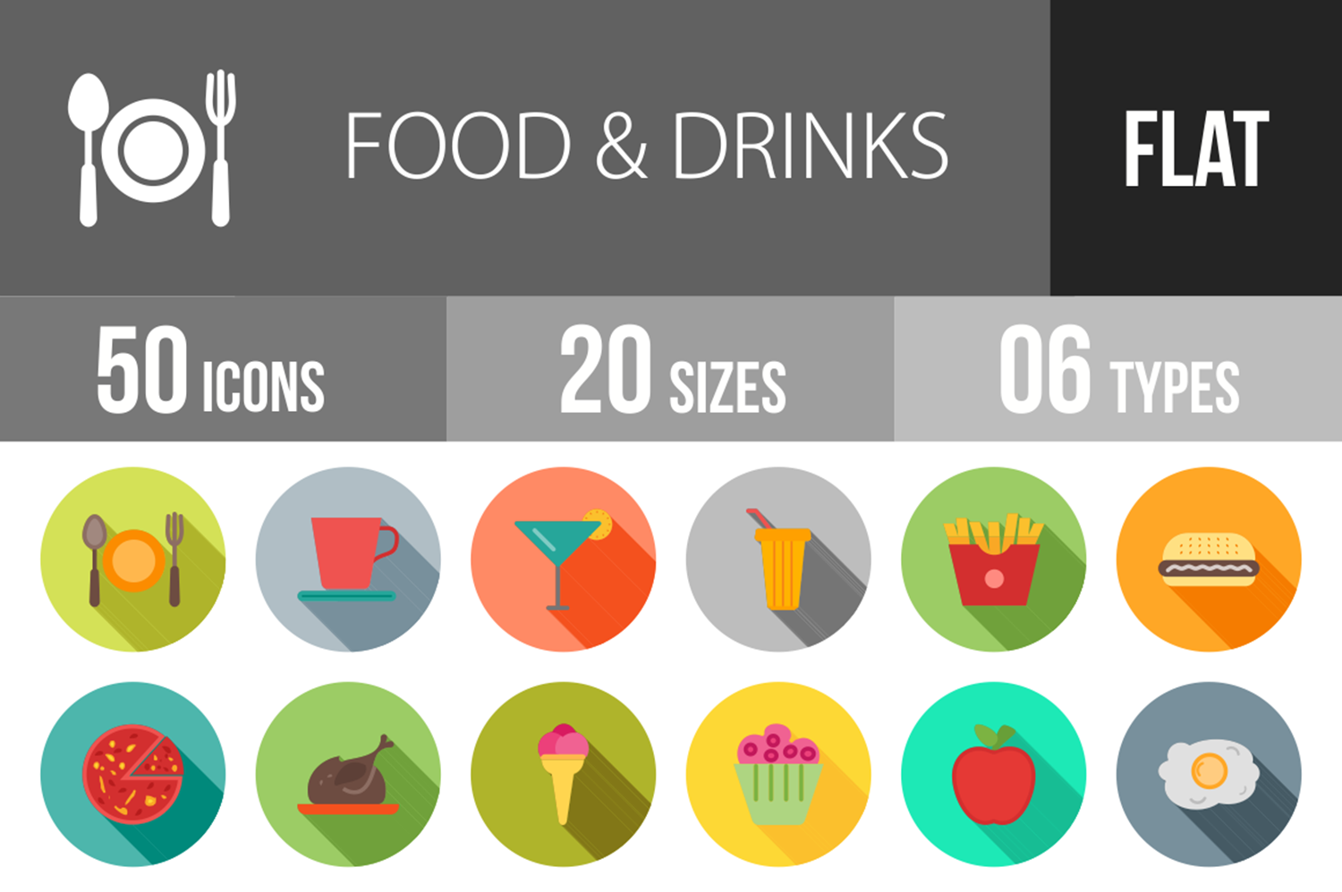 50 Food & Drinks Flat Long Shadow Icons example image 1