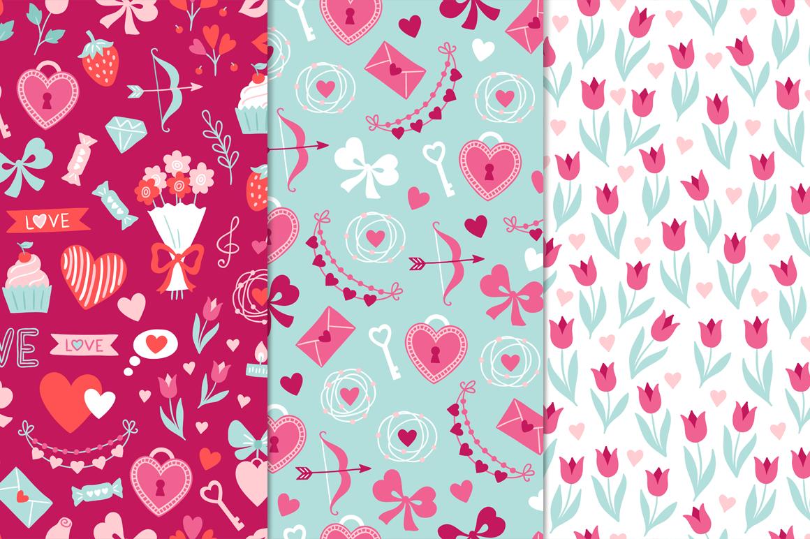 12 Valentine Seamless Patterns example image 3