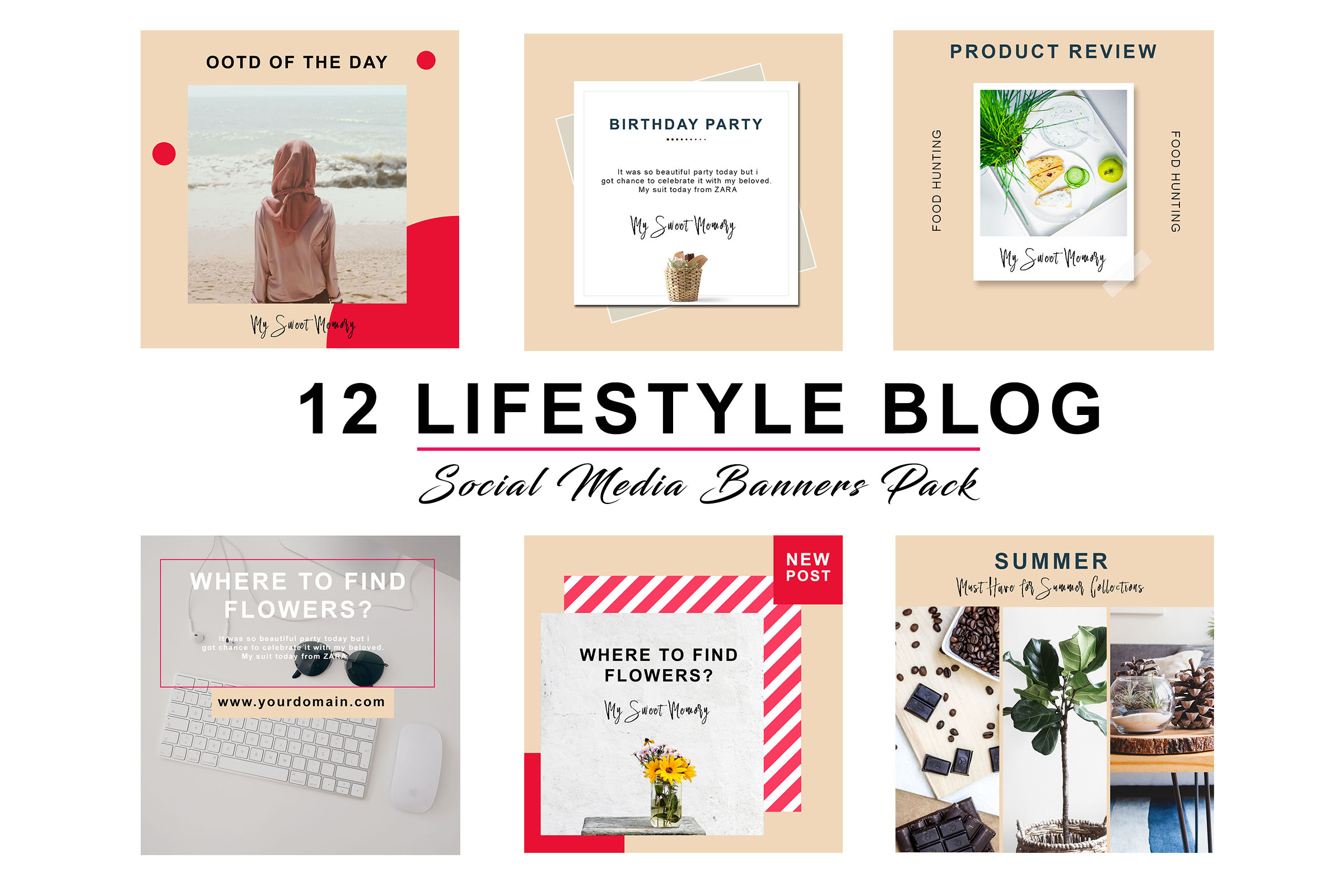 Peach Lifestyle Social Pack example image 3