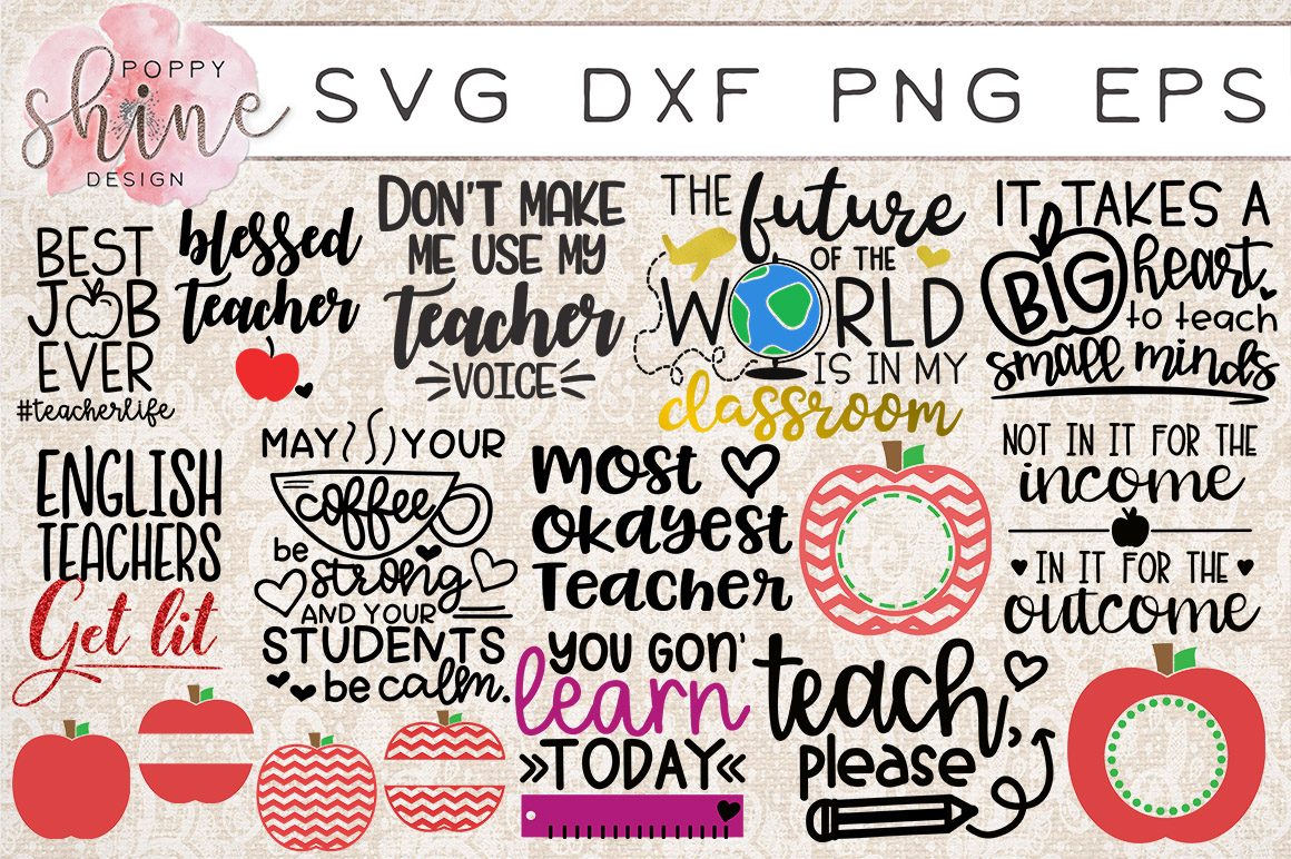 HUGE School Bundle of 41 SVG PNG EPS DXF Cutting Files example image 5