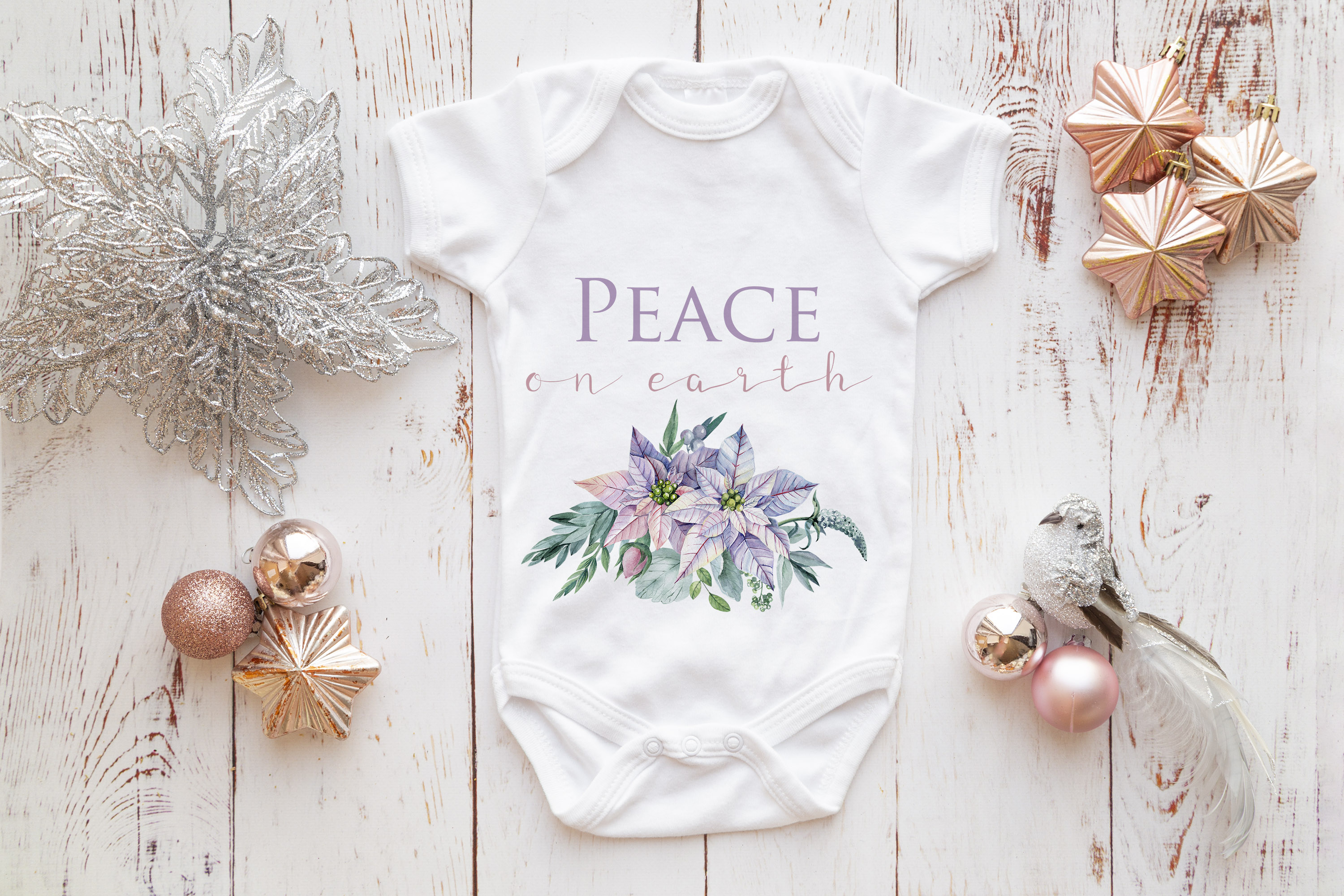 Onsie, Infant bodysuit Mockup, rose gold & silver christmas example image 3