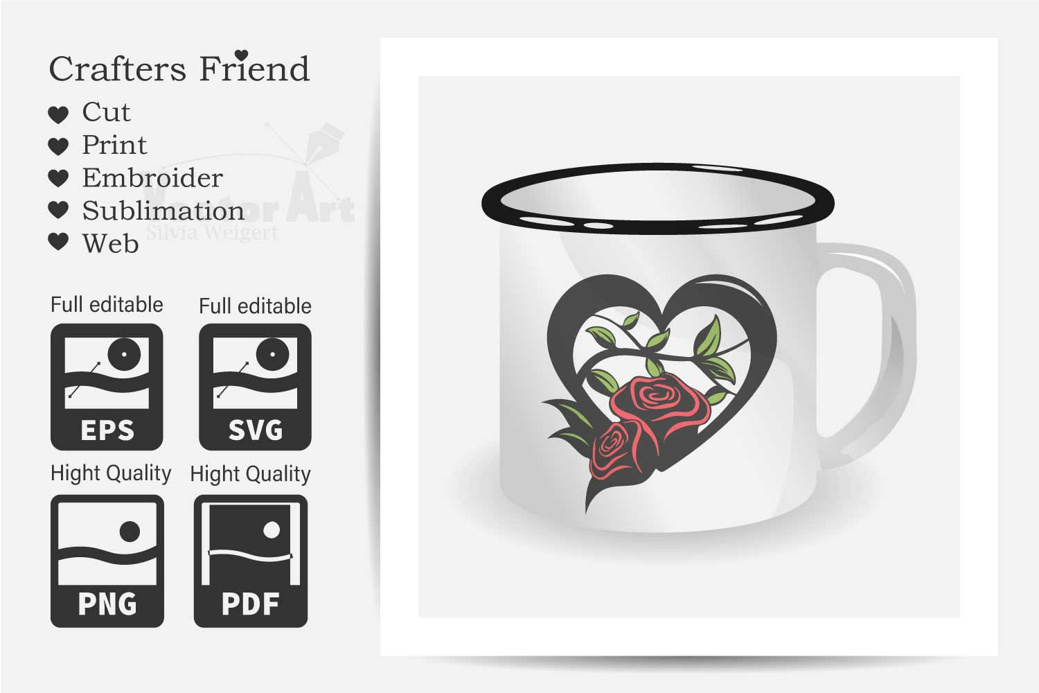 Heart with Roses - Love is everywhere - Print and Cut example image 2