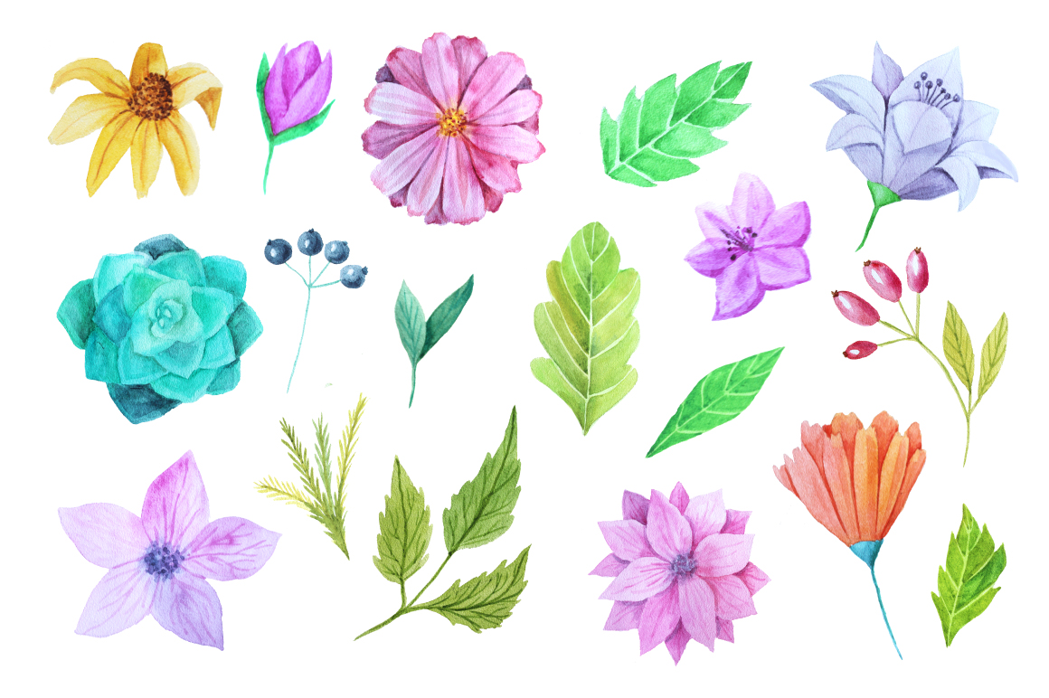 Watercolor Flower Pack example image 2