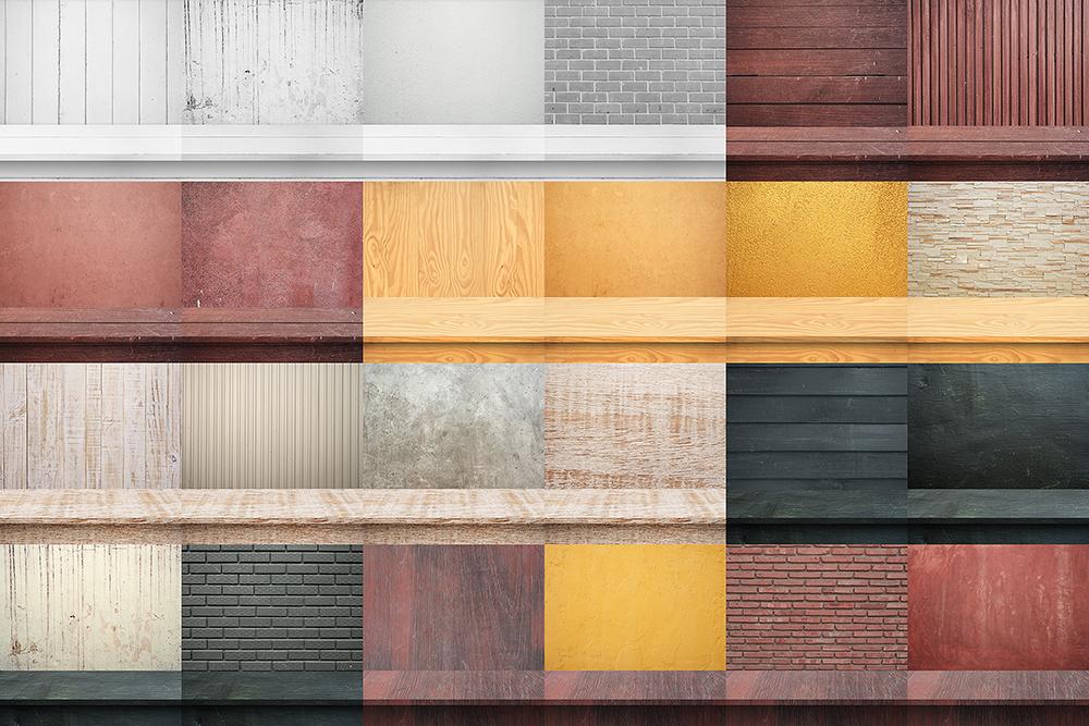 100 Realistic Shelves on Wall. Set 1 example image 6