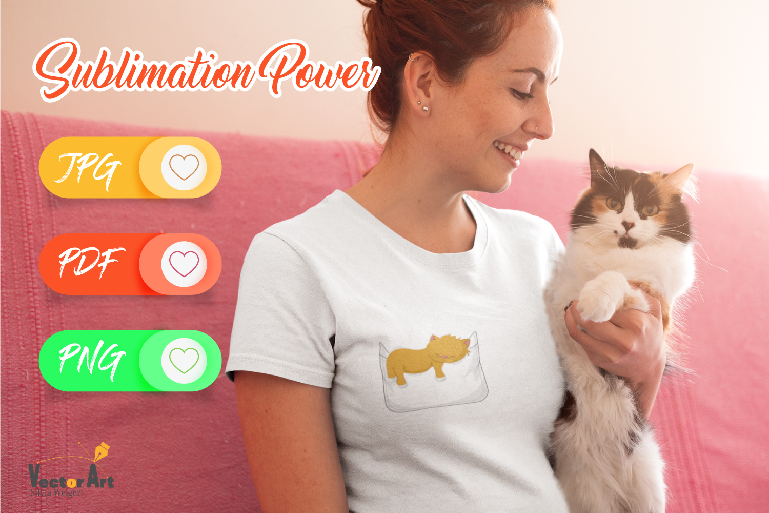 Fake Pocket with sleeping cat - Sublimation File for Crafter example image 2