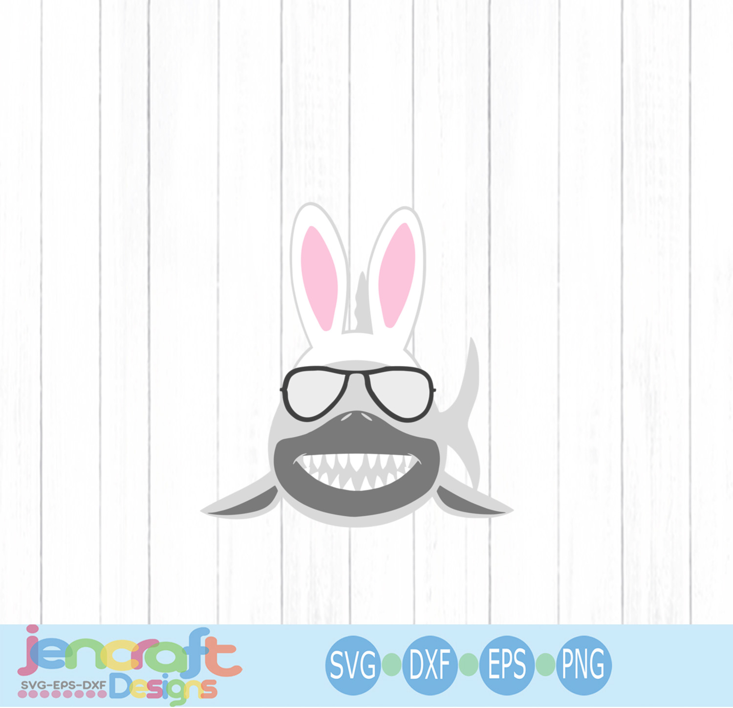 Easter Bunny Shark Svg, Sunglasses svg, eps, dxf, png example image 3