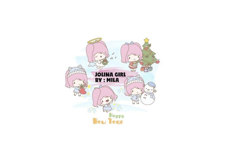 KAWAII GIRL JOLINA CHRISTMAS CLIPART BUNDLE PNG example image 1
