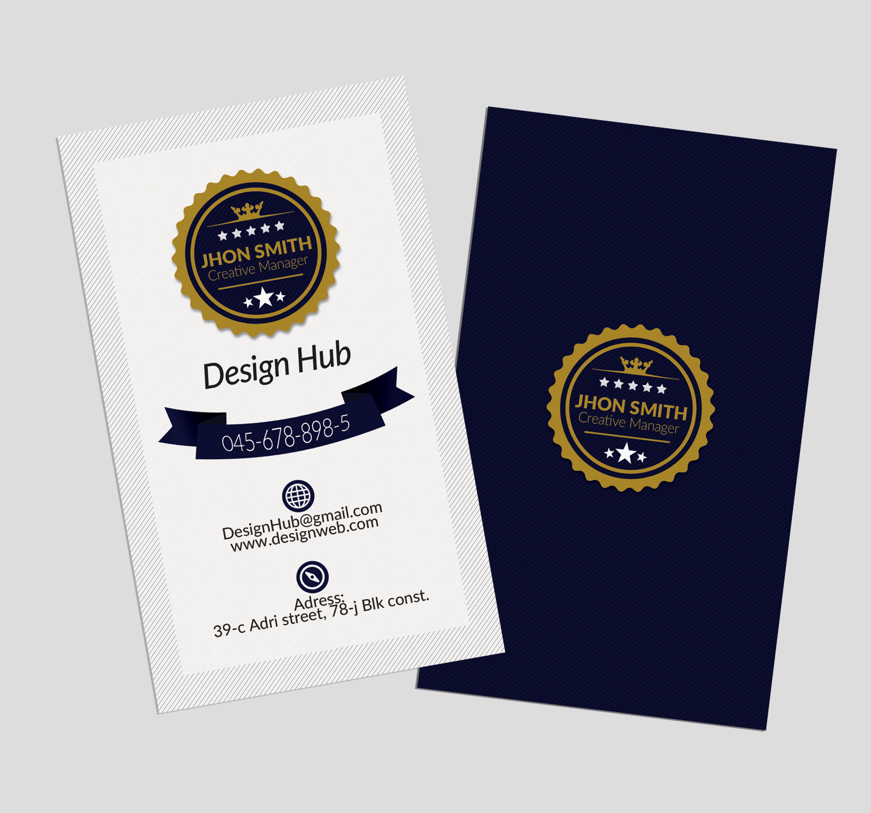 Retro Vertical Business Visitig Cards example image 3