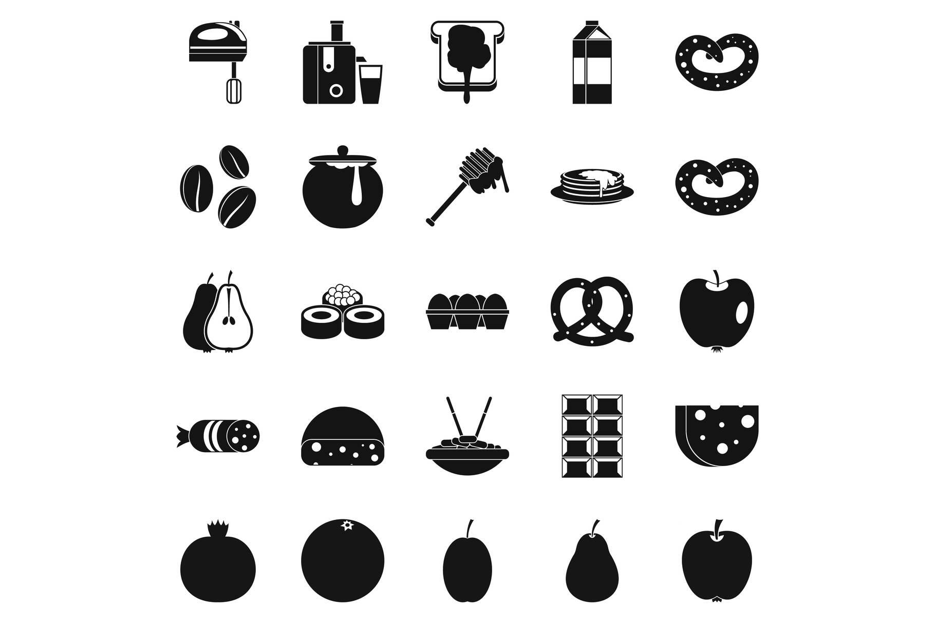Nourishment icons set, simple style example image 1