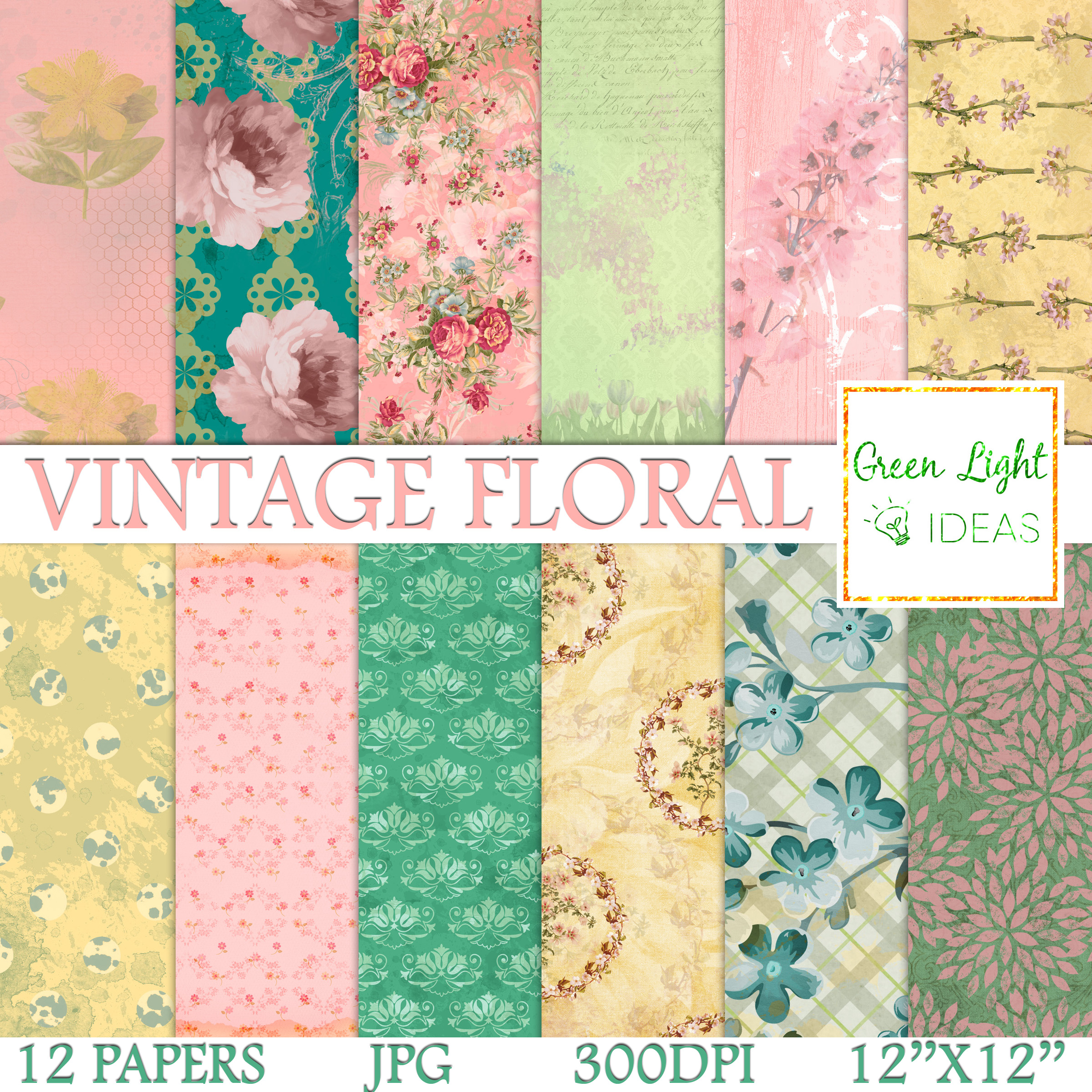 Vintage Floral Digital Papers, Shabby Chic Scrapbook Papers example image 1