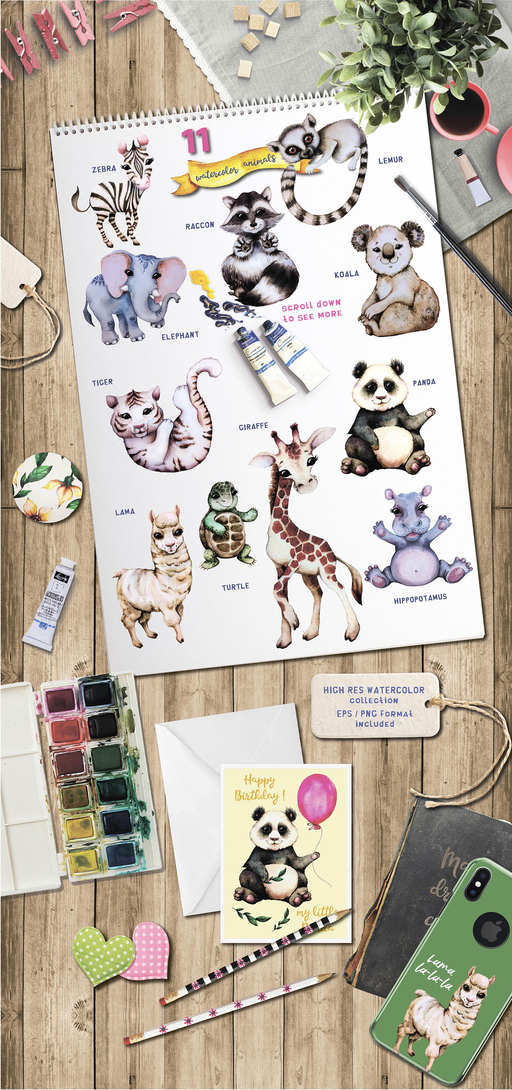 Baby animals. Cute watercolor zebra, hippo, lemur, tiger etc example image 2