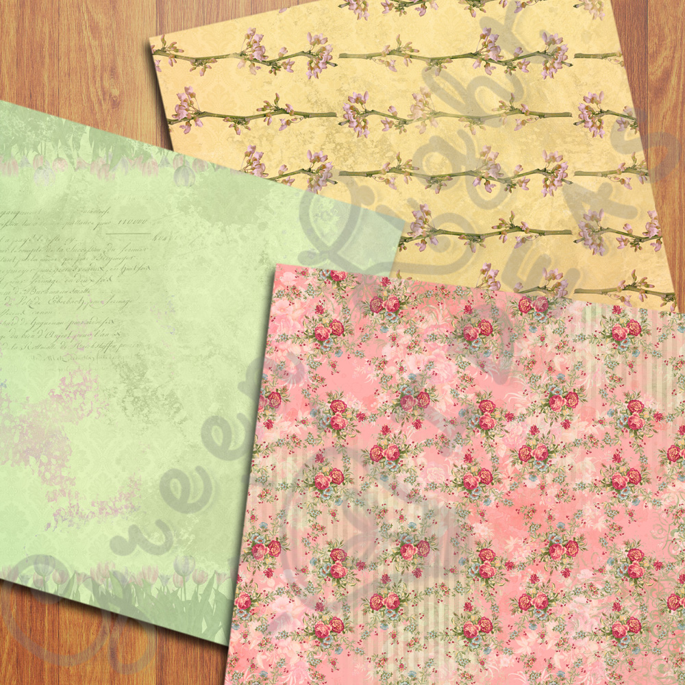 Vintage Floral Digital Papers, Shabby Chic Scrapbook Papers example image 2