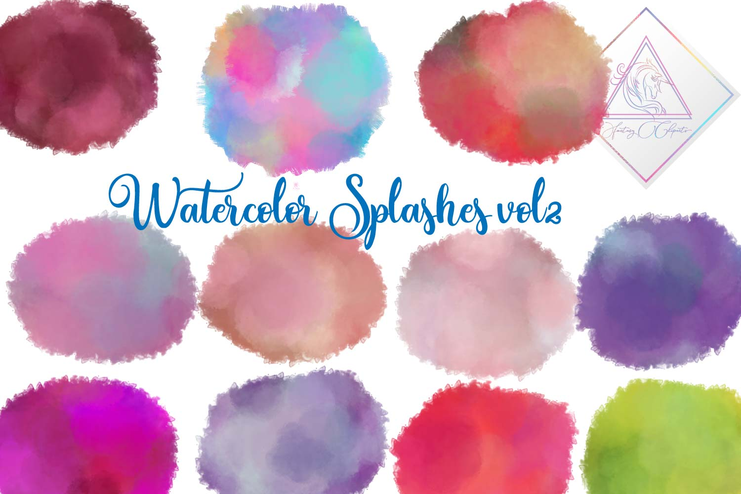 Watercolor Splashes Clipart vol 2 example image 1