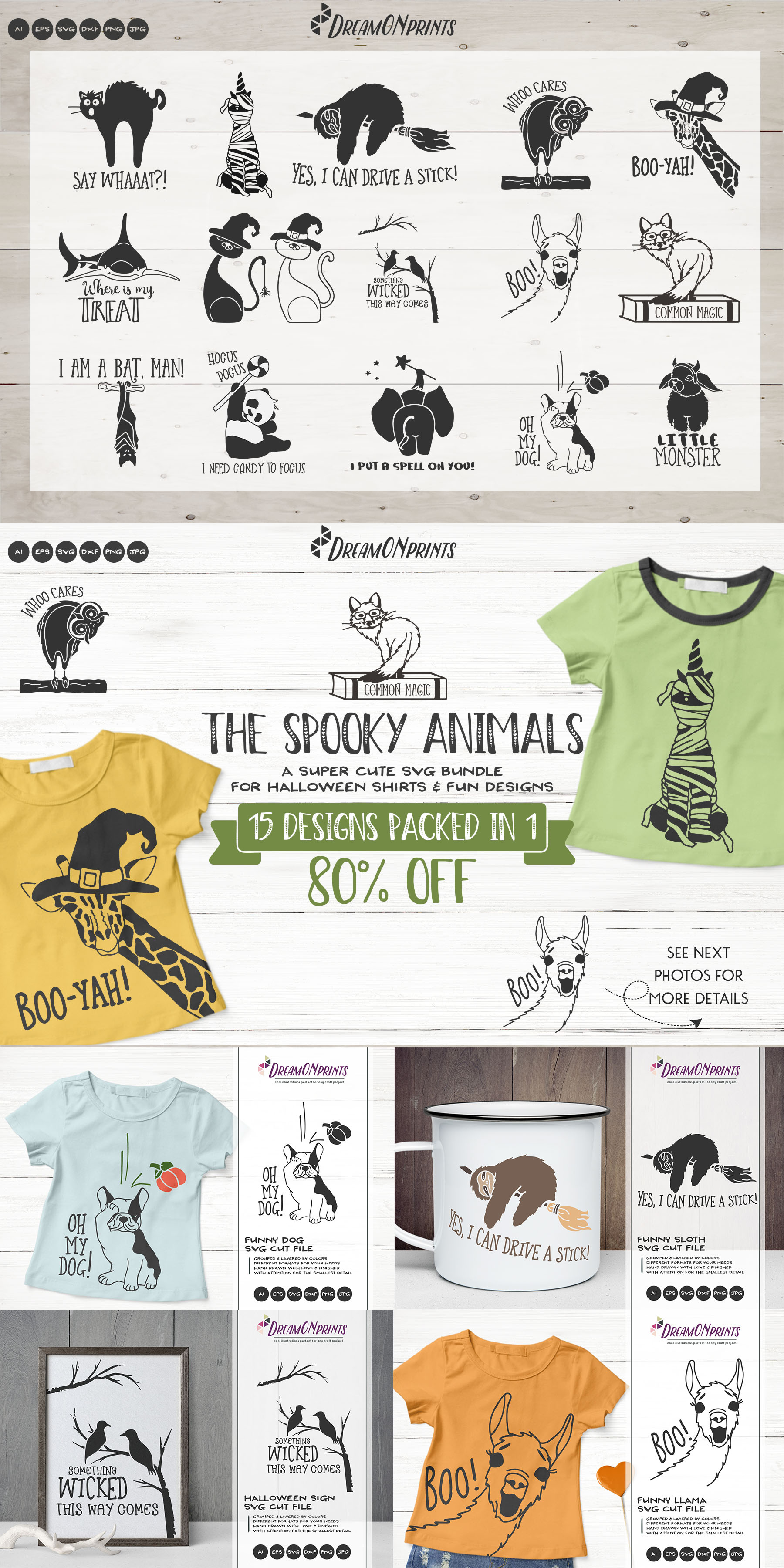 The Spooky Animals | Funny Halloween SVG Bundle example image 18