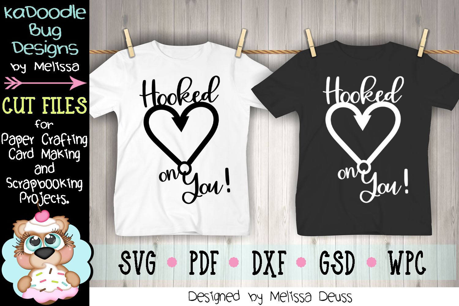Hooked On You Cut File - SVG PDF DXF GSD WPC example image 3