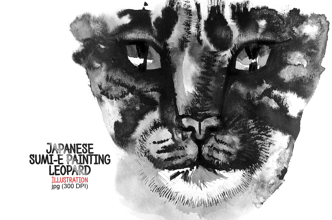 Leopard. Japanese painting sumi-e example image 1