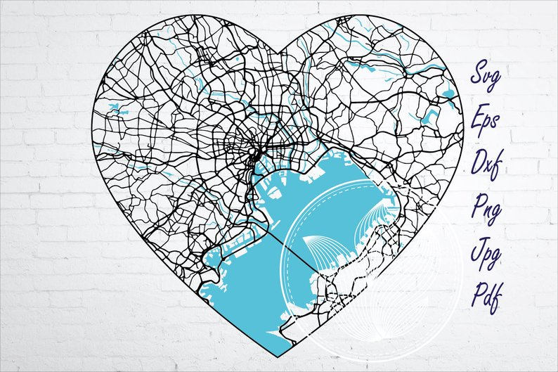 Tokyo Japan city road map svg, eps, dxf, png, jpg example image 1