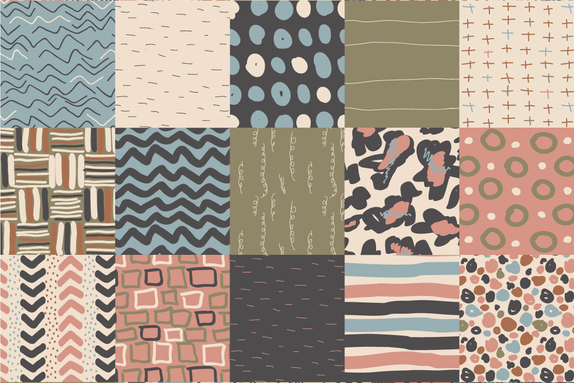 Neutral Hand Drawn Patterns Bundle example image 4