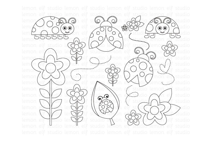 Lady Bugs-Digital Stamp (LES.DS09) example image 1