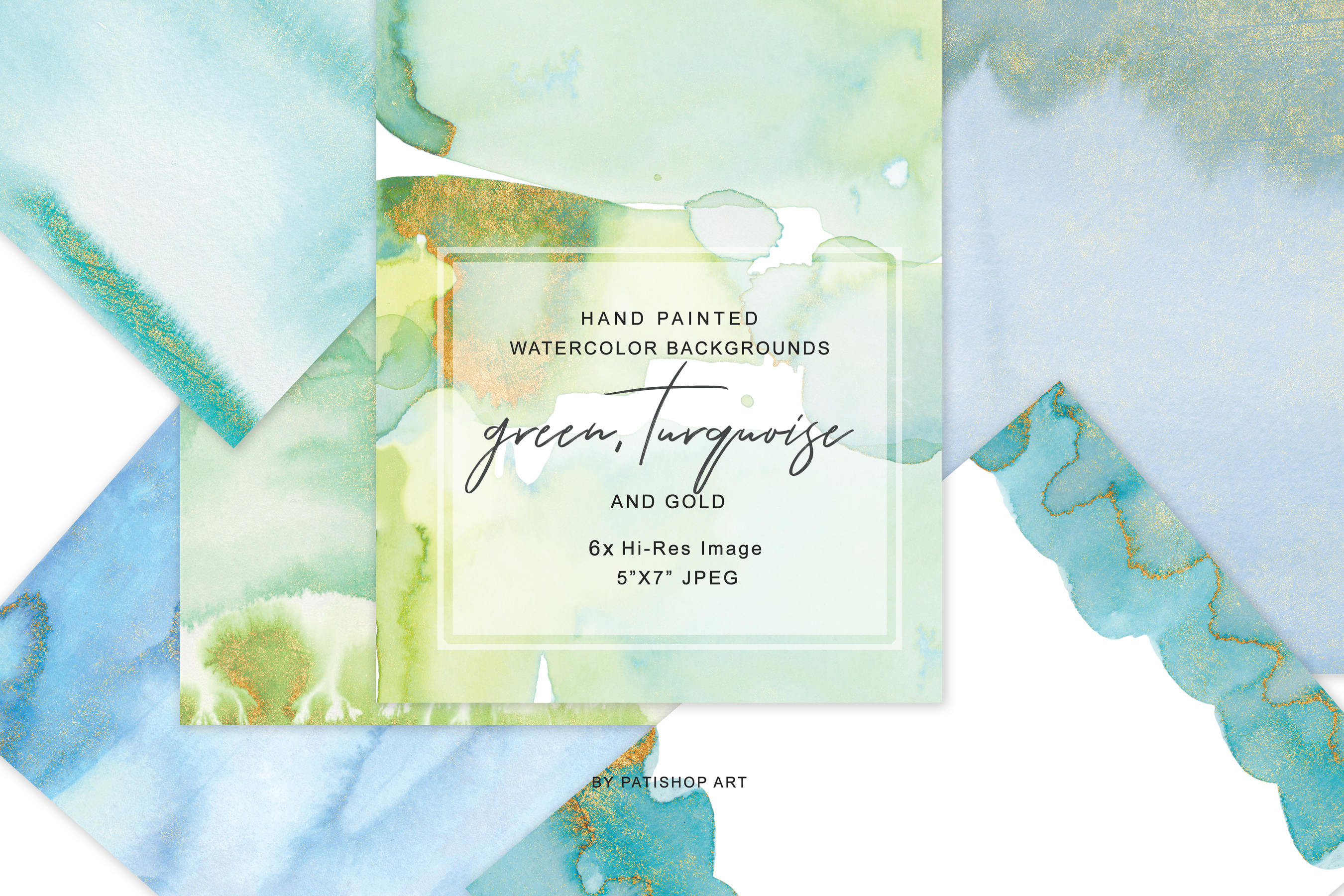 Watercolor Glittered Green & Turquoise Background 5x7 example image 2