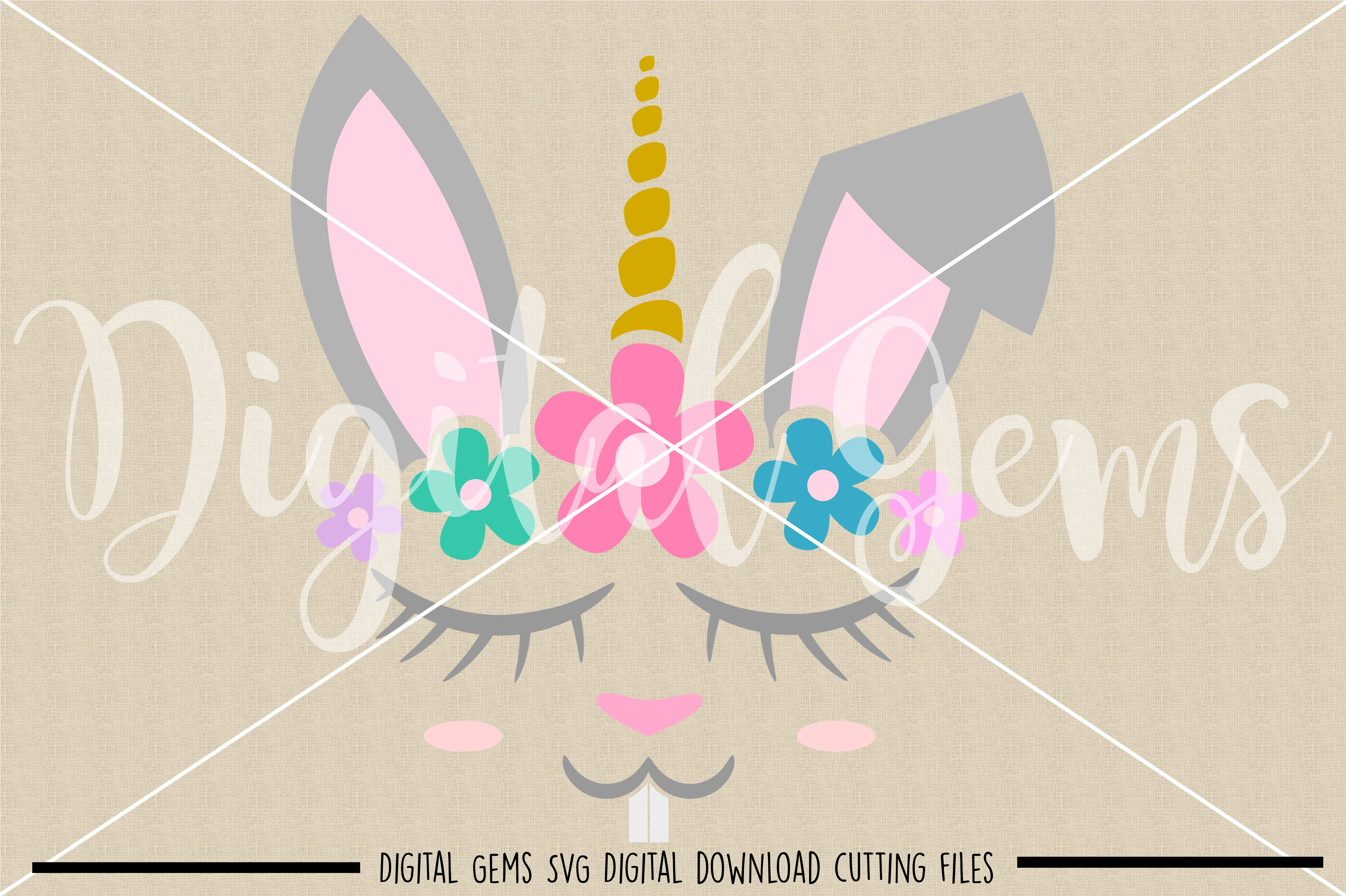 Unicorn Rabbit face SVG / PNG / EPS / DXF Files example image 2