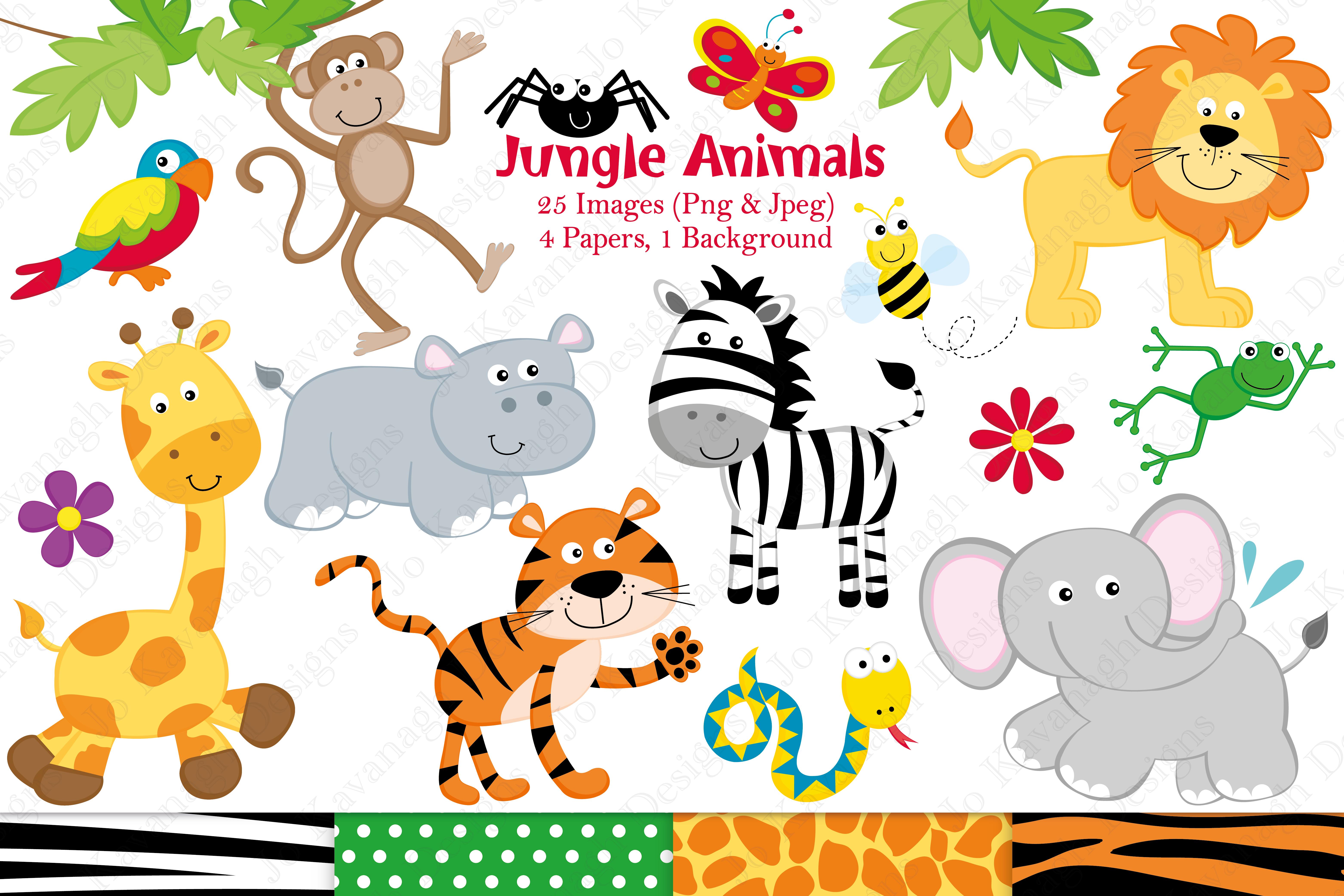 jungle animals clipart graphics illustrations paper designs borders graphic illustration kavanagh jo message designer follow webstockreview thehungryjpeg