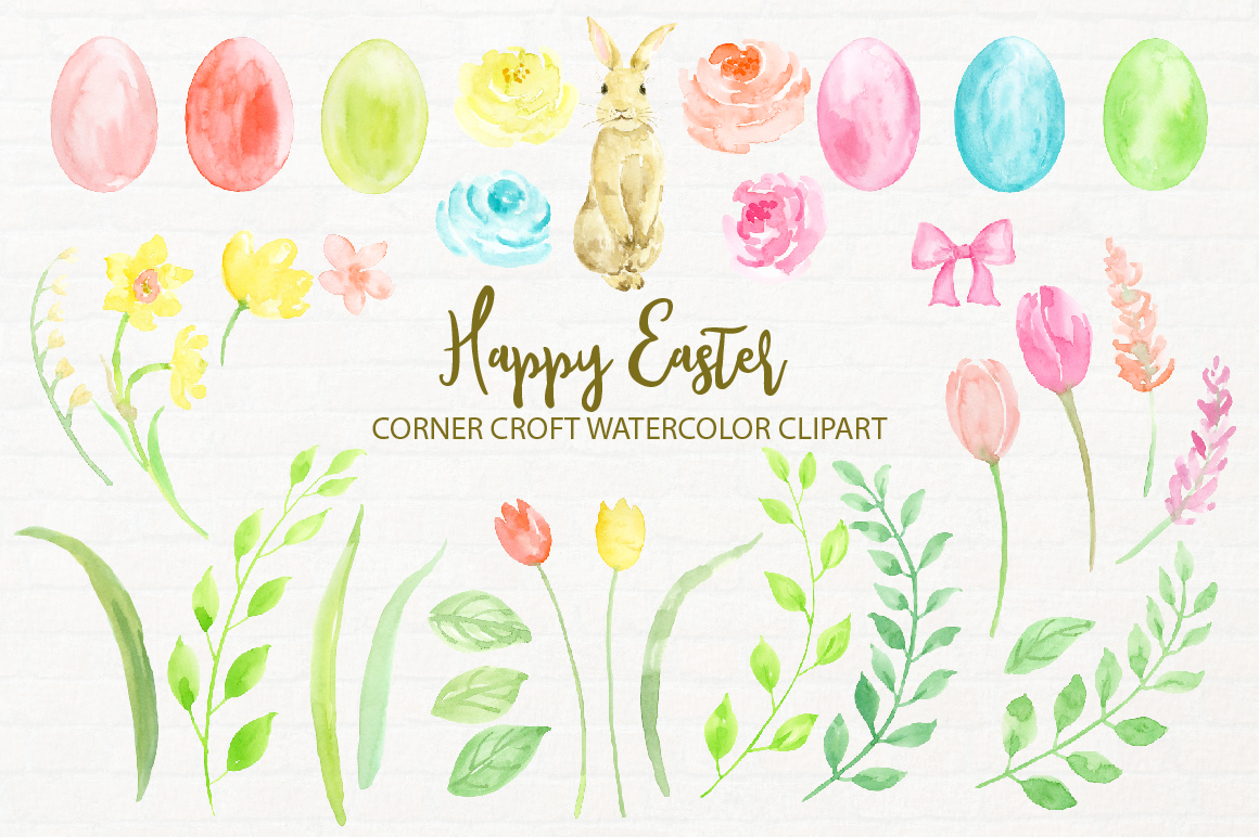 Watercolor Illustration Happy Easter example image 2