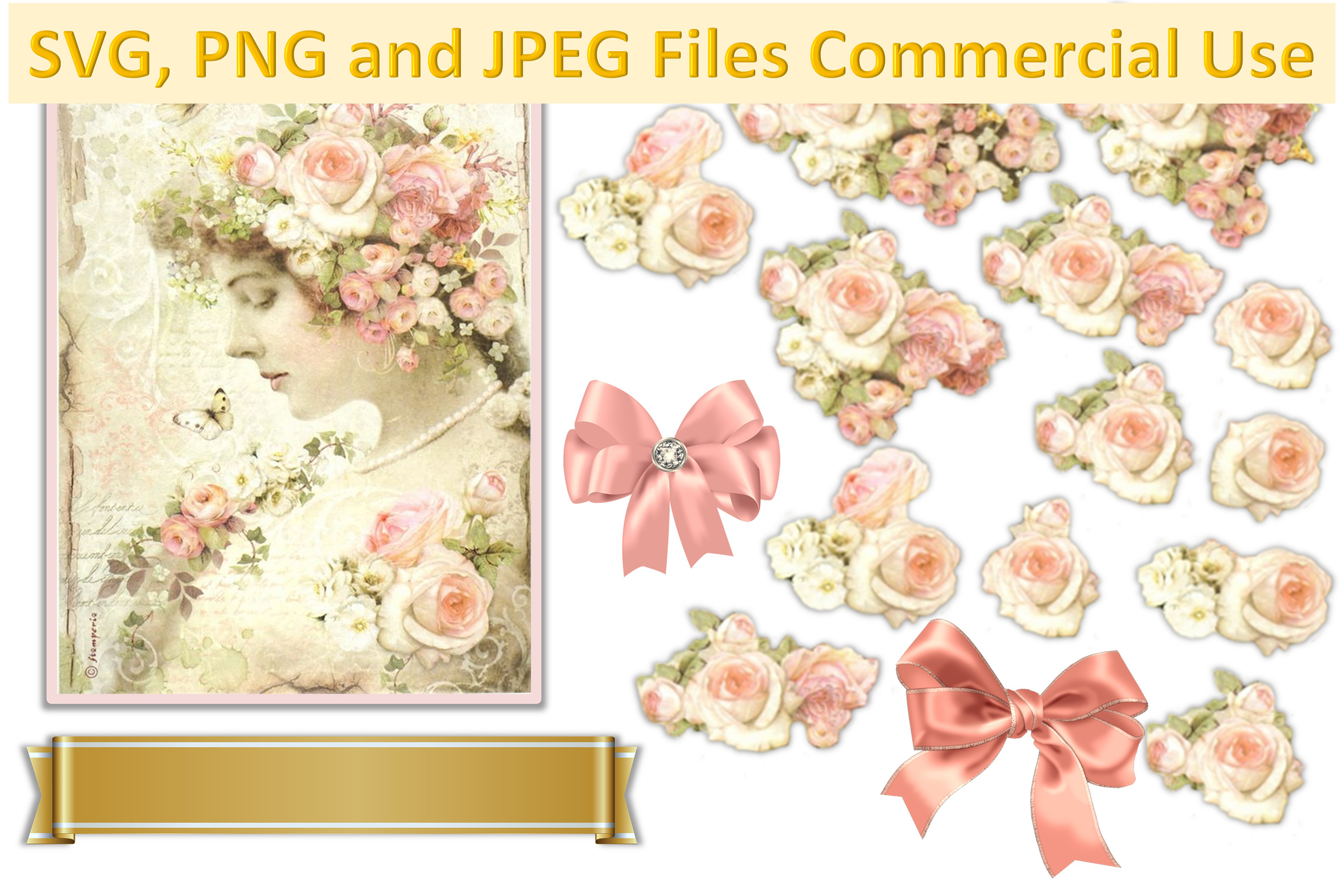 SVG, PNG and JPEG Vintage flowers collage sheet CU example image 1