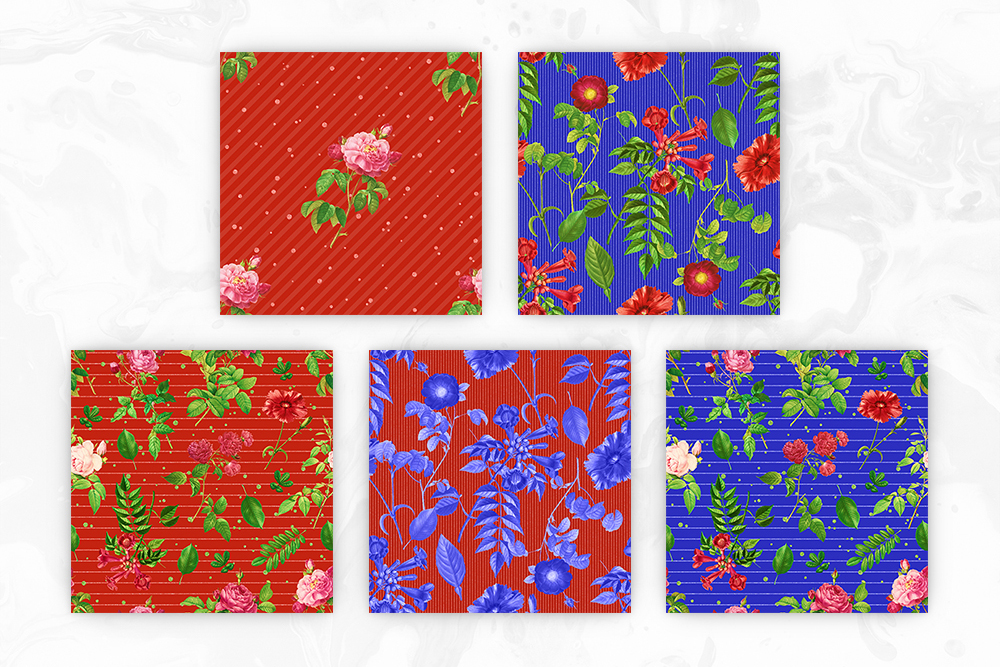 Red & Blue Tileable Floral Backgrounds example image 3