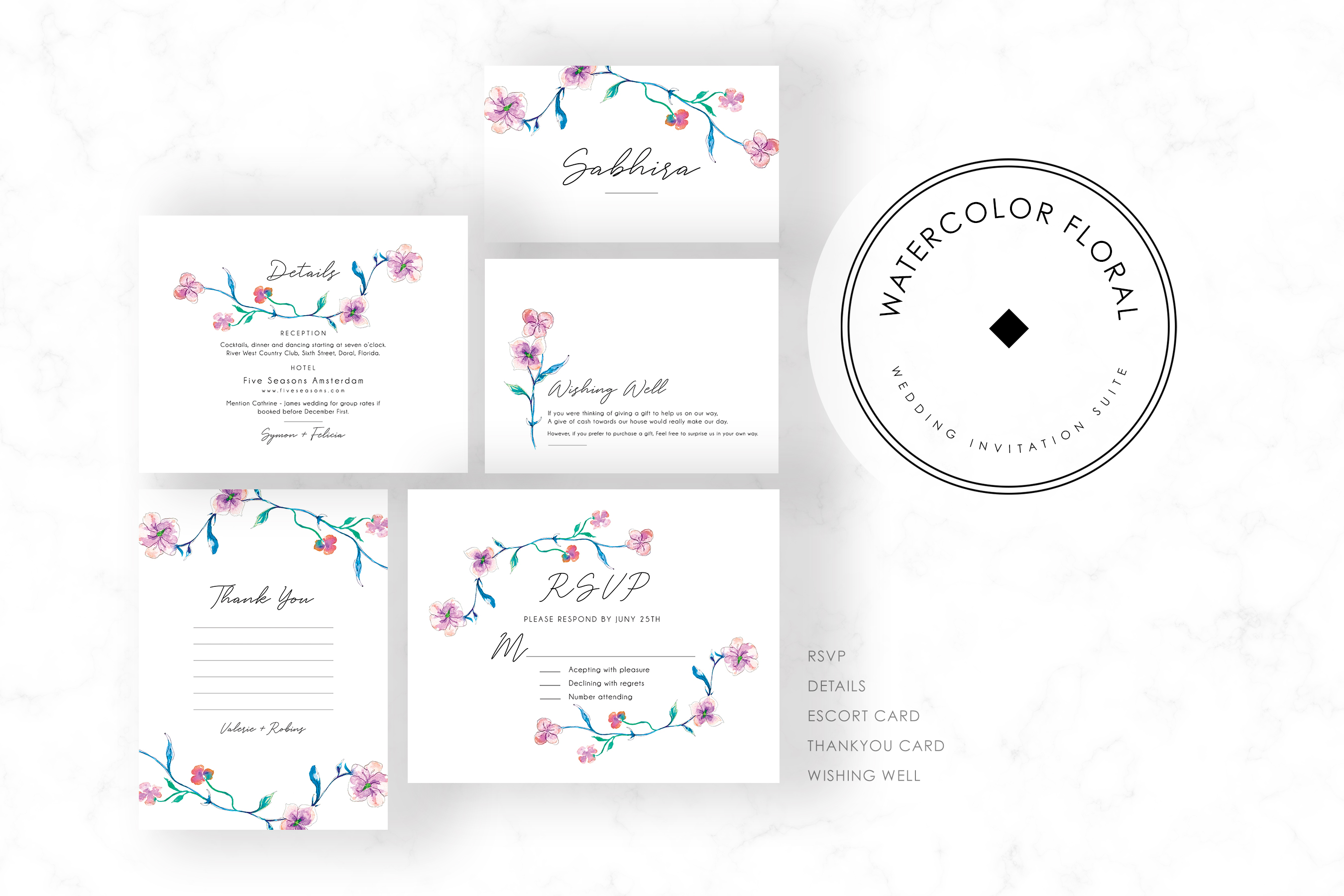 Watercolor Floral Invitation Suite example image 3