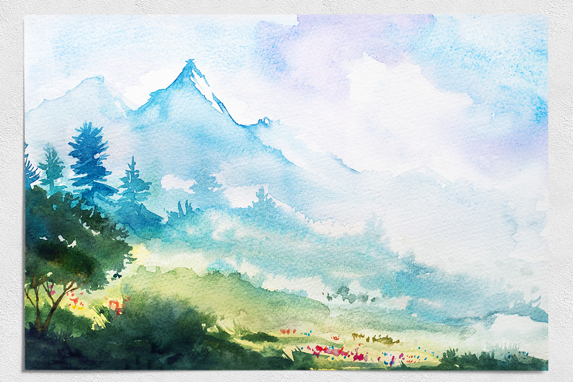Spring Landscapes. Watercolor. example image 12