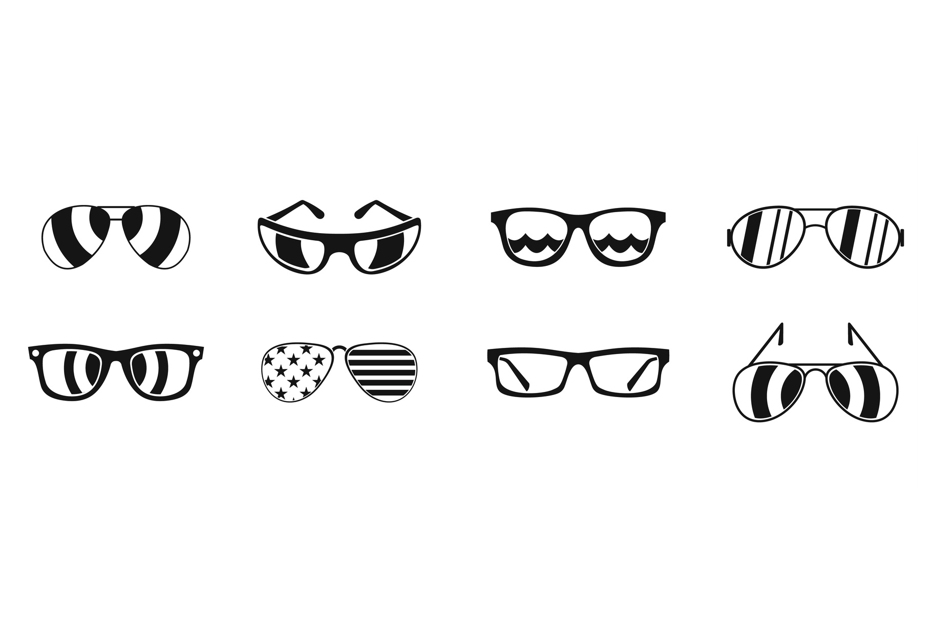 Sun glasses icon set, simple style example image 1