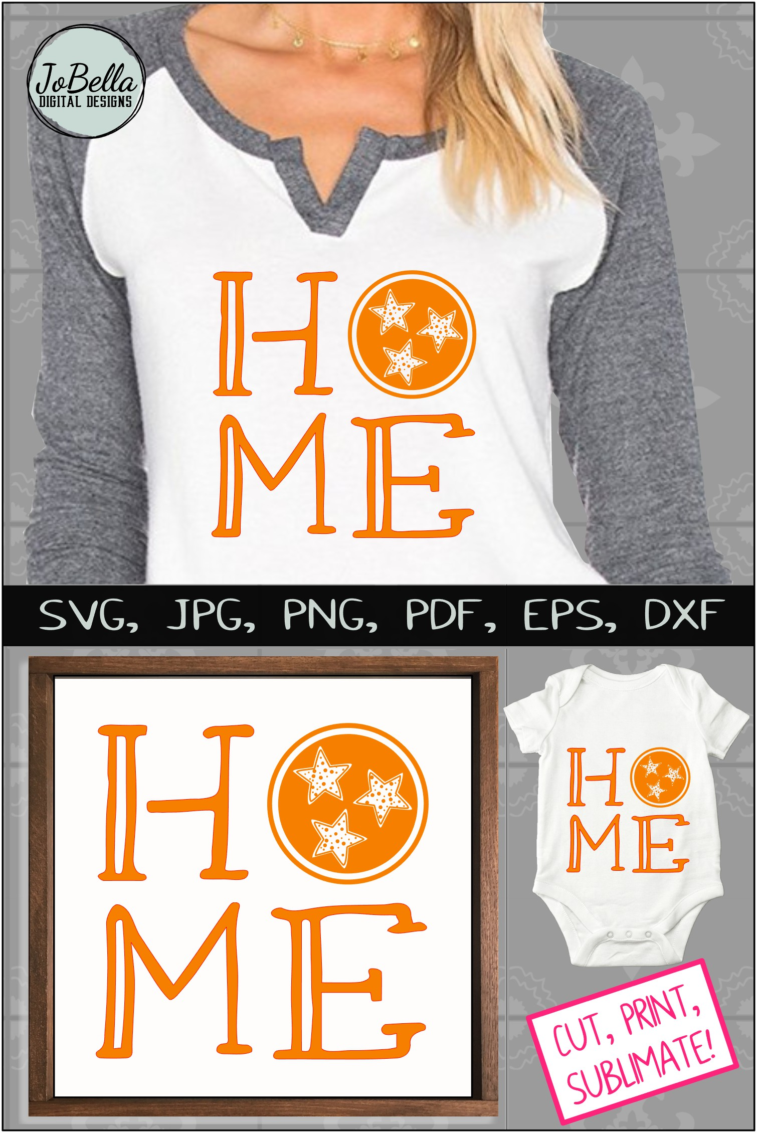 Home with Polka Dot TriStar SVG, Sublimation PNG & Printable example image 5