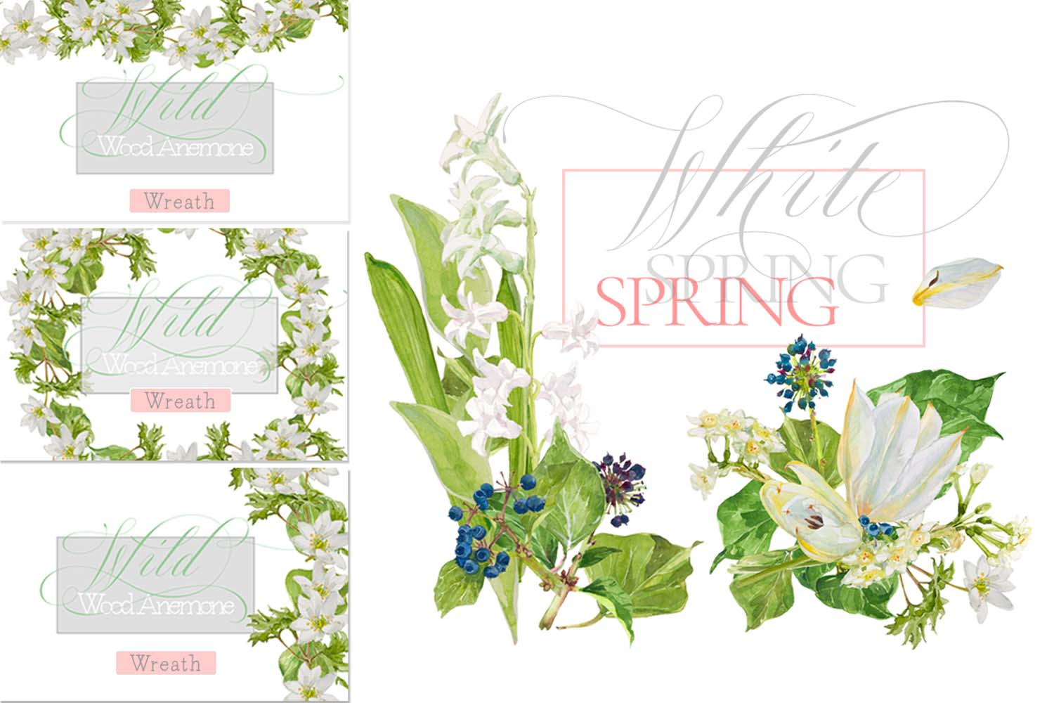 White Watercolor Bouquets & Wreaths example image 8