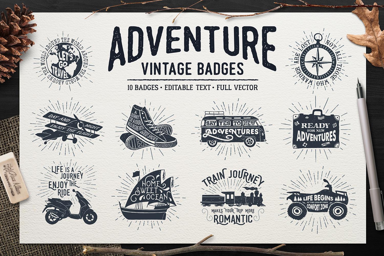 Adventure Vintage Badges (part 1) example image 1