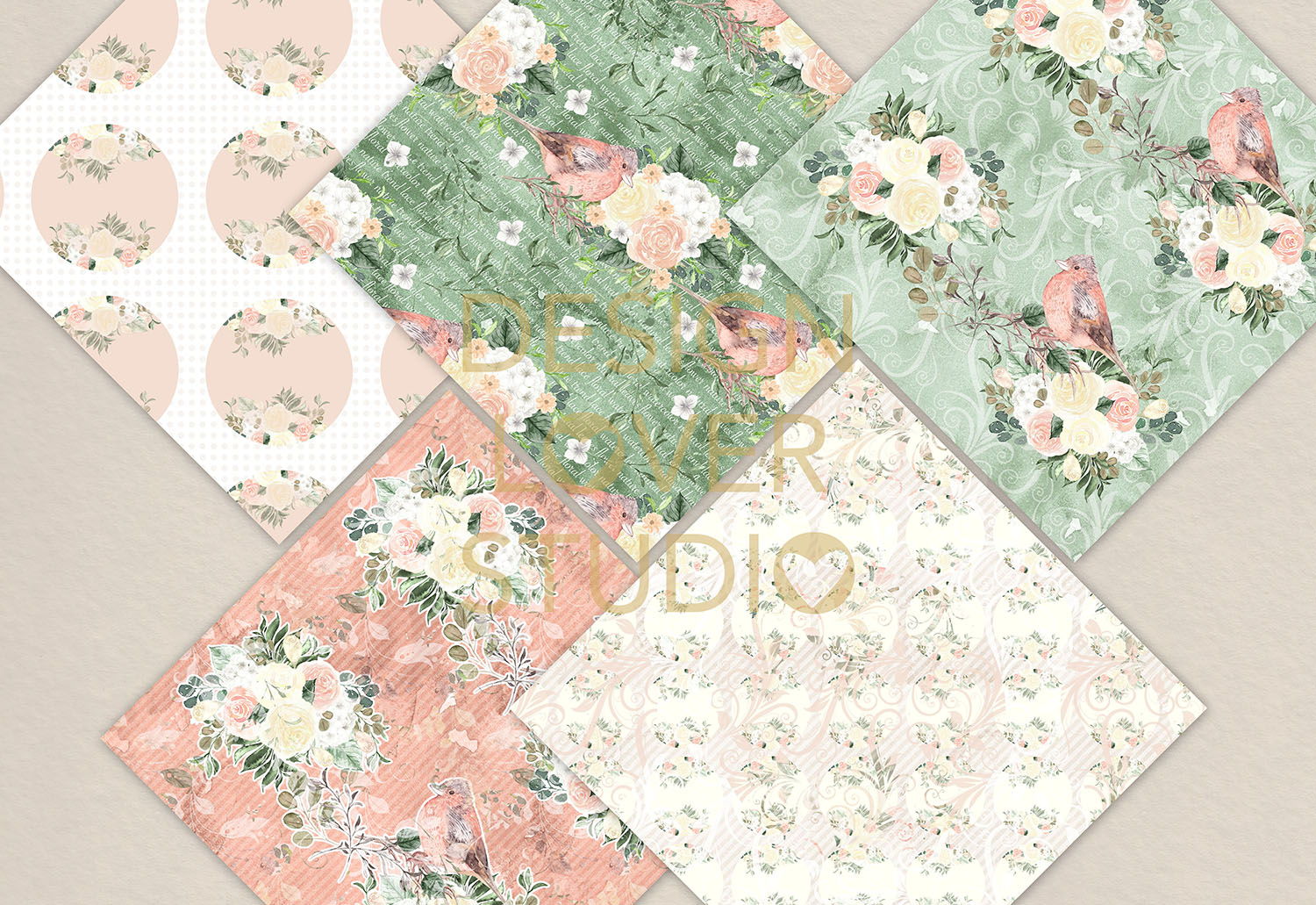 Watercolor roses white and green digital paper pack example image 3